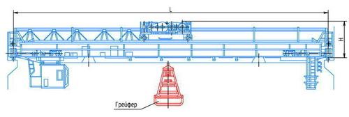 Схема мостового крана весьма тяжелого режима с грейфером объемом до 8 м3.