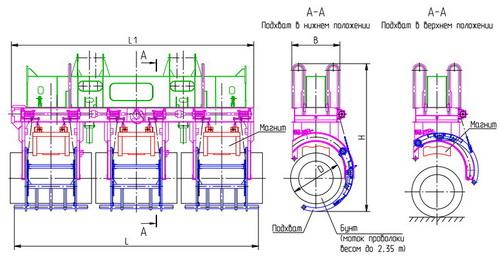 Схема магнитной траверсы со страховочными подхватами.