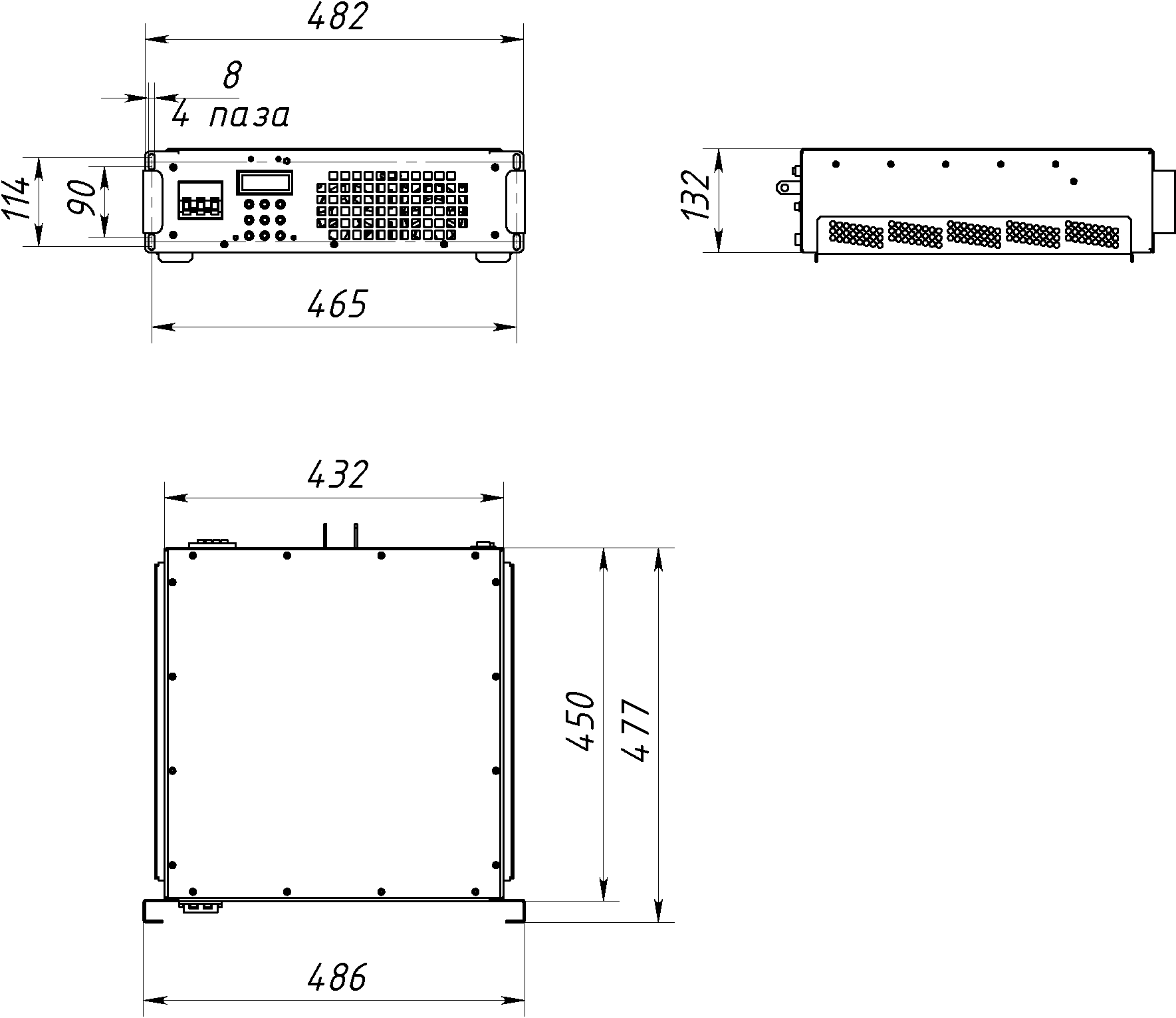 Габаритный чертеж СТ61-100-15