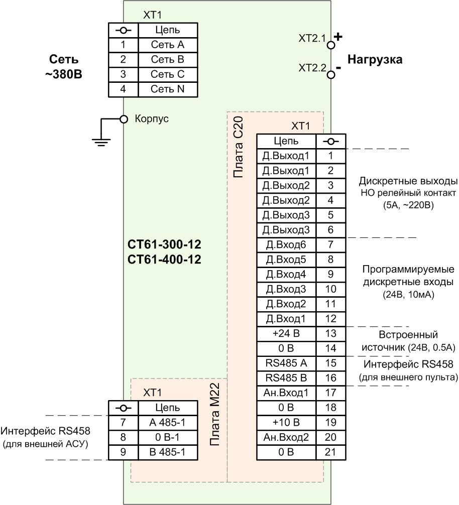 Схема подключения СТ61-300-12