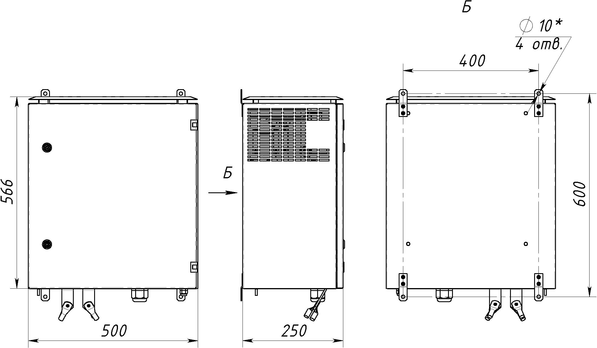 Габаритный чертеж СТ61-500-12
