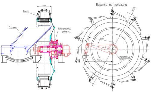 Заборный ротор, закрепленный к корпусу планетарного силового редуктора